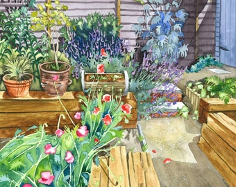 Sunlit Garden with Poppies & Lavender , Limited Edition Giclee Print of watercolour painting