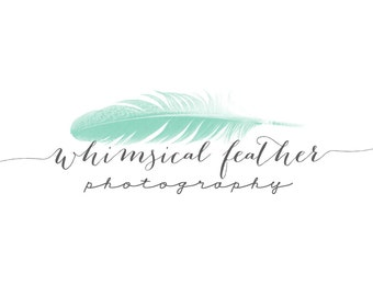 Delicate Teal Feather Logo and Watermark
