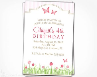 Garden Party Invitation - Printable Digital File Birthday Shower Invite - Garden, Butterfly Flower - Garden Party Collection