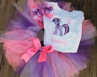 Twilight Sparkle Birthday tutu set- My little pony