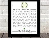 Monogram Irish Blessing Personalized - Great Wedding, Anniversary or Life Occasion GIft