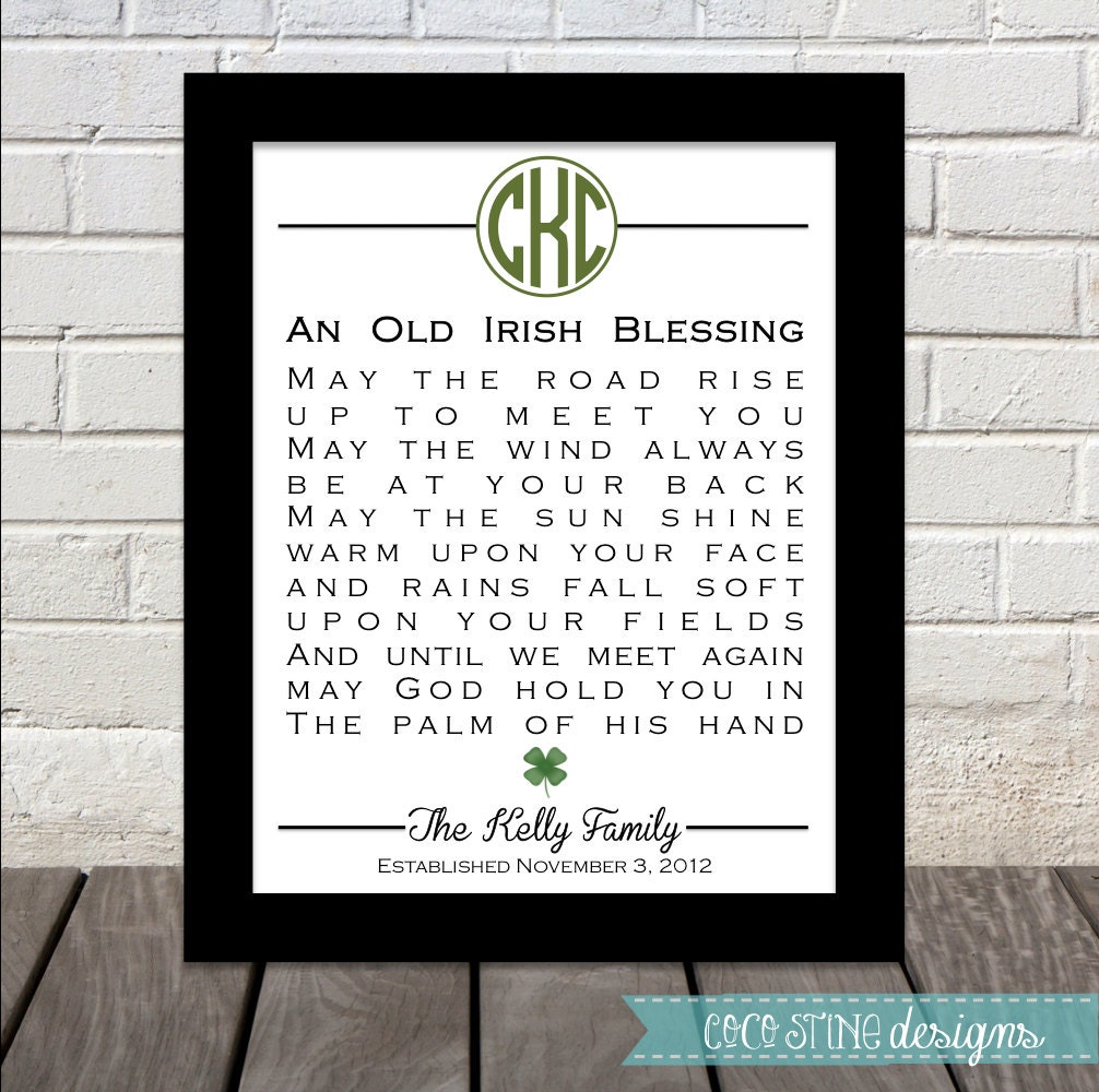Monogram Irish Blessing Personalized Great By CoCoStineDesigns