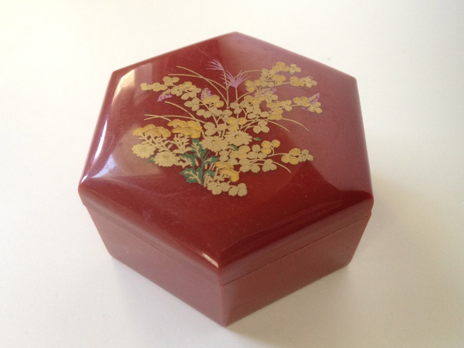 Acrylic Trinket Boxes : Vintage chinese trinket box floral asian design plastic