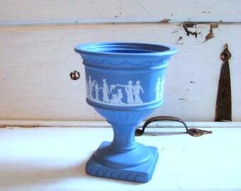 Vintage Avon Grecian style urn or vase, Beautiful Wedgwood Blue with Grecian art, Wedding decor, 4 x 5 inches