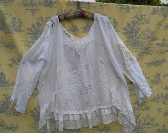 Authentic RitaNoTiara upcycled eco fashion antique white Pearl OOAK Vintage lace Pointy Hem top Shirt Quirky Romantic Boho Gypsy Lagenlook