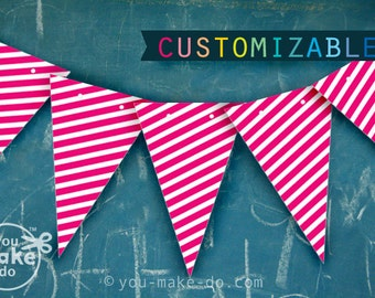 bright pink party printables hot pink birthday banner girl hot baby shower banner fuschia banner 1st birthday girl banner pink garland girl
