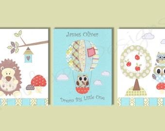 Nursery Art Print - Owl Nursery Decor - Baby Boy Nursery decor - hot air balloon - hedgehog - Kids Wall Art -  set of three prints