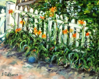 """Fine Art Print of my Original Oil Painting, Landscape Painting, Floral Painting 8 X 10 """"Picketing Day Lilies"""""""