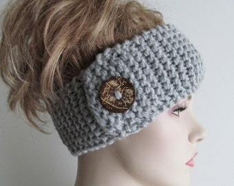 Grey Headbands Ear Warmers Turban Buttons Chunky Knit Gray Earwarmers Fall Winter Accessories Headcovers Womens Girls Knit Headwraps