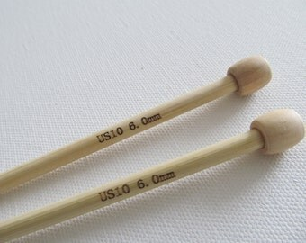 Size 10 Knitting Needles 6 mm Bamboo Wooden 9 inch straight single point