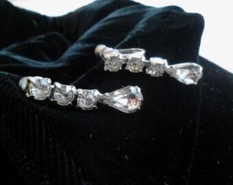 Vintage  Rhinestone Drop Earrings,  Screw-type  ECS
