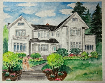 House Portrait - House Watercolor Painting - Anniversary Gift for Parents, First Anniversary Gift, Parents Gift, House Warming gift