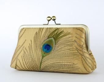 Bridesmaid Gift, EllenVintage Silk Peacock Clutch in Gold, Wedding clutch, Bridal clutch, Bridesmaid clutch, Evening bag
