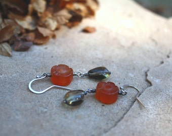 Sterling Silver Earrings, Clearance,  Red Agate, Smoky Quartz, Dangle Earrings, Flower Earring, Oxidized Sterling Silver, Orange Red Jewelry