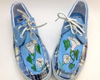 Custom painted morning glory on shoe blues and plaid womens 10