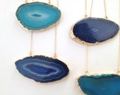 LAST ONE - Blue Agate Gold Slice Necklace