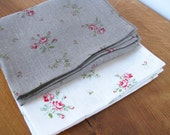 Linen Tea Towel / Hand Towel / Dish Cloth or a Guest Towel / White / Ecru / Floral Print