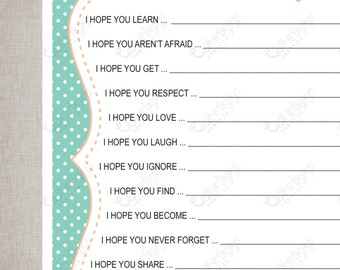 Wishes For Baby Sheets - Aqua & Peach Polka Dot -  INSTANT DOWNLOAD