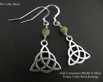 Irish Connemara Marble & Silver Trinity Celtic Knot Earrings