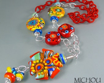 Coral World - Art Glass Necklace by Michou Pascale Anderson