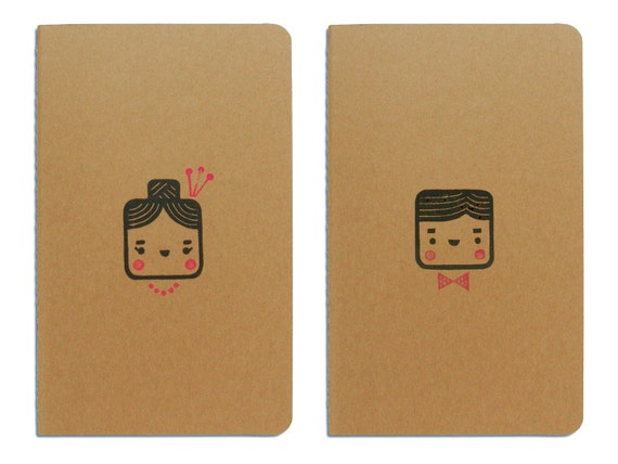 Set of two cute Moleskine notebooks Monsieur and Madame - Handstamped with cute character illustration - A5 / medium