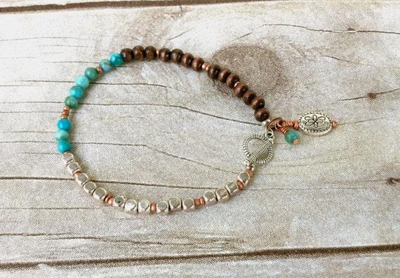 Beaded Bracelet, Turquoise Bracelet, Unique Bracelet, Womens Jewelry, Western Style, Everyday Jewelry, Casual, Cowgirl, Charm Bracelet