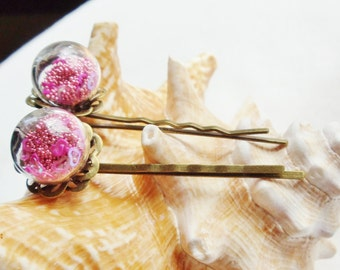 Bobby Pins, Glass Orb filled with pink microfiber beads and tiny hearts with bronze accents