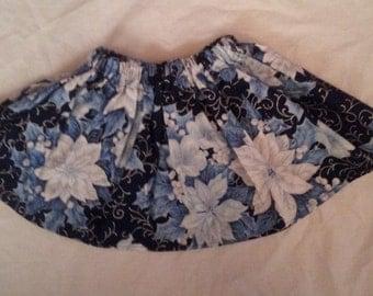 Trendy Girls Holiday Blue Poinsettias Twirly Skirt 4/5T  Ready to Ship