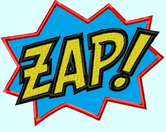 word ZAP Applique Embroidery Design,  3 sizes INSTANT DOWNLOAD