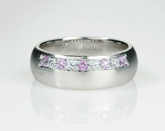 Lavender sapphire ring, white sapphire, Palladium wedding band, violet sapphire ring, unique, wide, sapphire wedding, sapphire engagement