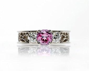 Pink tourmaline ring, filigree, Diamond ring, engagement ring, tourmaline, pink engagement, lace ring, white gold, wedding ring
