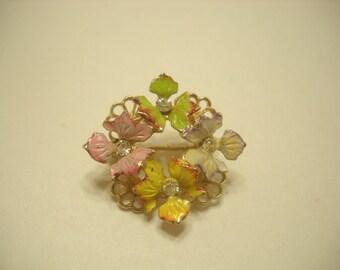 Vintage ENAMEL & RHINESTONE FLOWER Brooch (0200)