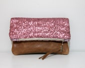 Sequin and leather fold over clutch, rose pink sequin clutch