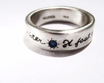 Il Faut Vivre French Poetry Ring Sterling Silver and Blue Sapphire