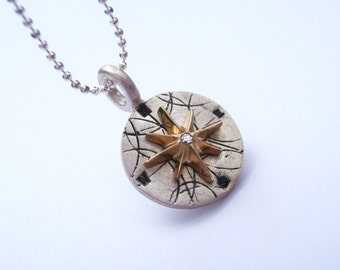 Mini Compass Necklace in Sterling Silver, 10K Gold and Diamond