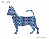 Smooth haired Chihuahua applique template - pdf applique pattern