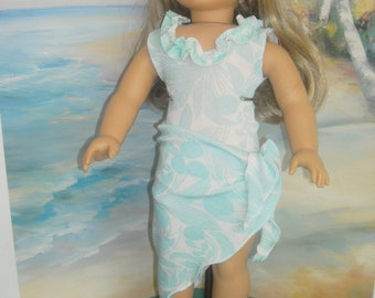 """American Girl, 18"""" Doll Aqua Blue Print Swimsuit  and Sarong with Accessories"""