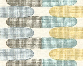 Aqua Gray Geometric Upholstery Fabric - Custom Yellow Grey Pillow Cover - Aqua Yellow Curtain Panels - Custom Blue Geometric Roman Shade