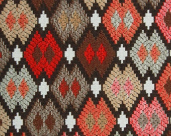 ON SALE - Red Grey Geometric Upholstery Fabric