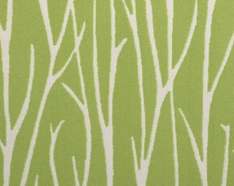Lime Green Abstract Upholstery Fabric with Grass - Scenic Throw Pillow Covers - Modern Lime Green Home Decor - Green White Botanical Fabric