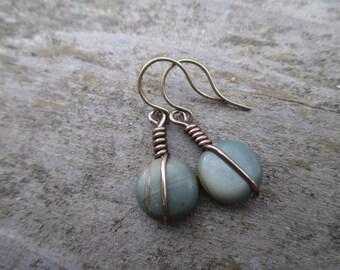 Wire-Wrapped Red Creek Jasper Earrings