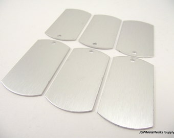 12 Large Brushed Clear Anodized Aluminum Dog Tags, Large Blank Discs, Blank Stamping Tags