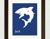 Personalized Nursery Wall Decor - Shark Room Decoration for a  Boy or Girl - Silhouette with a Heart - Mothers Day