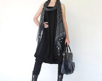 NO.125 Black Cotton Jersey Strapless Loose Jumpsuit