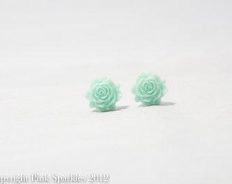 Mint Green Flower Earrings,Flower Earrings, Resin Flower Earrings