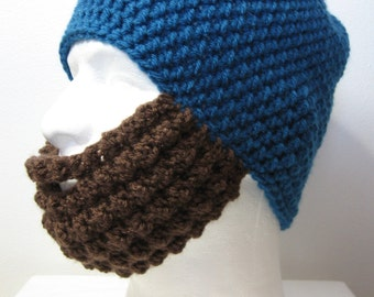 Crochet Bearded Skullcap - Beard Hat - Hat with Beard Face Warmer - Sapphire Blue Hat - Ready To Ship!