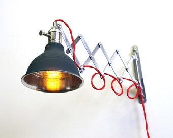 Industrial Scissor Articulating Wall Lamp Light With Black Shop Shade - Accordion lamp - Mid Century Machine Age Lamp Style