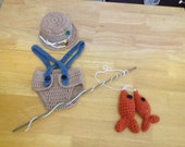 SALE Neutral Newborn Fishing set photo prop