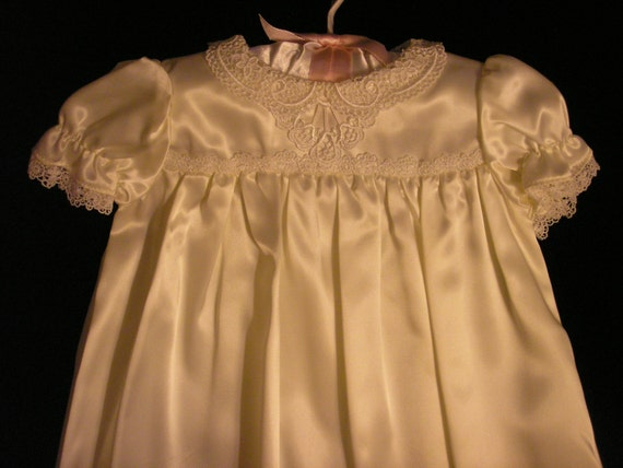 Lace collar satin Christening gown