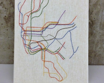 Embroidered NYC Metro Map, Framed